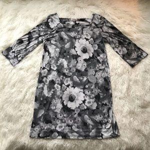 CALVIN KLEIN BLACK WHITE GREY PIXEL SHIFT DRESS